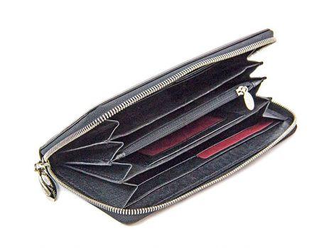 Кожаный женский клатч-кошелёк Petek 1759 black